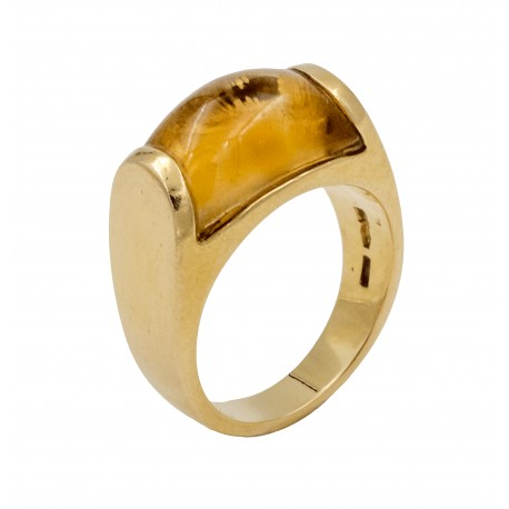 Bvlgari, bague Tronchetto en or jaune 18K.
