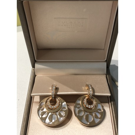 Bvlgari, Boucle d'oreilles Intarsio Or Rose Diamants